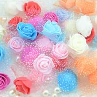 도매 -30PCS 2.5cm 작은 PE 거품 로즈 꽃 머리 인공 장미 꽃 수제 DIY 웨딩 홈 장식 축제 파티