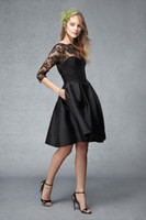 2015 preto curto cocktail vestidos 3/4 mangas compridas de renda vestidos de baile A linha Sheer Neck Vestidos ocasião especial corpete Vestidos Homecoming