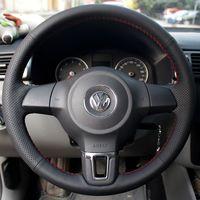 Volante volkswagen vw golf 6 novo santana jetta polo bora touran magotan couro genuíno diy estilo do carro