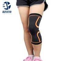 1 Pcs Support genou Protect HZYEYO Marque Fitness Course à vélo Accolades genouillères élastique en nylon Sport Gym Genouillères Réchauffez manches