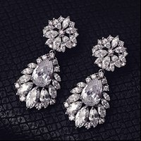 Fashion Silver Flowers Rhinestone Crystal Bridal Earrings We...