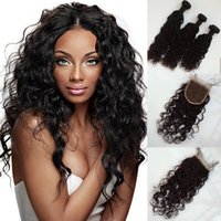 Brazilian Virgin Hair water wave With Closure 3 Bundles Braz...