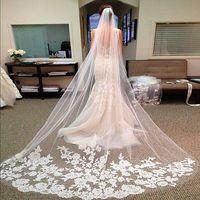 2,8 Meter lange Brautschleier Elegante Brautschleier mit Spitze umrandeten weißen Elfenbein eine Schicht schiere Spitze Applique Brautschleier Hochzeitsaccessoires