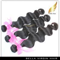 Paquetes de cabello humano Virgen Mongolia Onda corporal Remy Pelo humano Extensiones de trama Grado 9A 4pcs Color natural 10-26 pulgadas Bella Hair