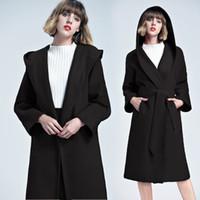 Новое прибытие 2018 Elegant Lady Black Крупногабаритные Ватные Шерстяные пальто с поясом манто роковая европейского сыпучих шинелях Верхняя одежда FS3150