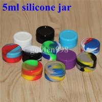 En gros 5mL 7mL Non-adhésif Silicone Jar Récipients De Cire Dab Pour Cires En Silicone Cire Concentré Cas 6 en 1 Pass FDA LFGB Test