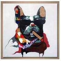 Handmålad Berömd Animal Oil Målning på Canvas Smart Cool Rökning Hundar Pet med Solglasögon för Soffa Väggdekoration