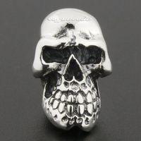 Огромный тяжелый стерлингового серебра 925 череп мужской байкер рокер серьги 8r020a