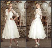 2020 새로운 3 분기 소매 레이스 빈티지 V 넥 저렴한 비치 웨딩 드레스 2020 Casamento Vestidos 드 짧은 웨딩 드레스 (150)