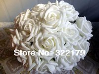 100X Fake Flowers White Foam Roses Bridal Bouquet Artificial...