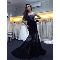 Black Sexy Strapless Runway Mermaid Formal Evning Dresses Court Train With Lace Train Backless Prom Gowns 2015 EV0314