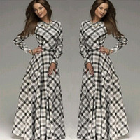 Women' s Clothing spring and autumn plaid plus size maxi...
