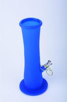 Diffused Downstem Silikon Su Borusu ile pembe Silikon Bong 14 mm eklem ile Mavi Silikon Dab Rig STOKTA
