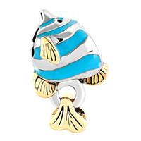 Goud en rhodium zilver kleur plating tropische nautische blauwe engel vis sealife bead charme fit pandora armband