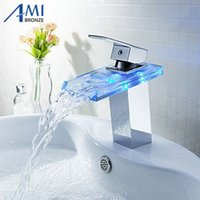 Chromed Polished Battery RGB LED Light Bathroom Basin Sink Mixer Tap Glass  Waterfall Faucet