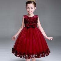 Miúdos Infantis Menina Flor Pétalas Vestido Crianças Da Dama de honra Da Criança Vestido Elegante Vestido Infantil Formal Vestido de Festa Vinho tinto