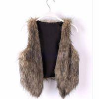 Venta al por mayor-mujer Vintage Tendencia Celeb Fallo de piel Faiux Chaleco chaleco Chaqueta Shawal Abrigos Tops S-XL
