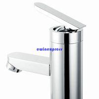현대 욕실 분지 싱크 수도꼭지 탭 황동 크롬 수도꼭지 폭포 주둥이 디자인 단일 핸들 뜨거운 / 냉수 욕실 액세서리