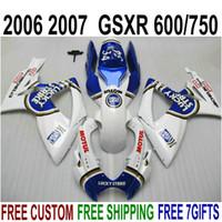 最高品質フェアリングキット鈴木GSXR600 GSXR750 06 07 K6 GSX-R 600/750 2007ブルーホワイトラッキーストライクフェアリングセットV43F