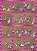 Смешанный заказ 12 стиль комплект ювелирных изделий сердце хризантема стрекоза бабочка 925 Серебряное ожерелье серьги 30 компл. / лот