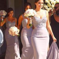 Lüks Mermaid Bridemaid Elbiseleri Ucuz Düğün Sapanlar için Sevgiliye Boyun Dantel AppPlique Nedime Onur Elbise Hizmetçi Custom Made
