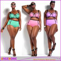 af7009df22 2016 newest Bikini set Underwire Top for Big and Beautiful Womens Big Size  Swimwear high waist bikini Swimsuit L-3XL Plus Size