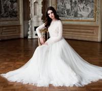 Modest High Neck Lace Long Sleeves Muslim Brautkleider 2015 Dubai Tüll Sweep Zug Islamische Brautkleider Plus Size Arabisch Brautkleid