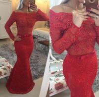 2015 maniche lunghe sirena arabo pizzo abiti da sera Bateau perle rosse vedere attraverso abiti da ballo abiti rossi festa serale indossa con fiocco di prua