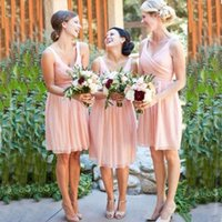 2018 chiffon a line short bridesmaid dresses cheap off shoul...