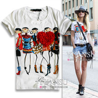 Wholesale-[yuansu ] 2016 Newest blusas femininas 2016 3D Applique Illustrator Print Short-sleeve Elastic Women T-shirt tops for women