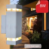 10pcs / lot 8W moderna lampada da parete principale fino impermeabile luce e lato negativo / parete ha condotto la luce di garanzia impermeabile due anni all'aperto WL-2012A / 2