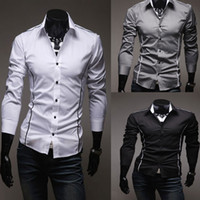 New Men' s Fashion Stylish Casual Slim fit Dress Shirt M...