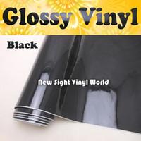 Involucro di vinile nero lucido lucido di alta qualità Involucro nero lucido di vinile Involucro di veicolo trasparente a bolle d'aria nero lucido Dimensioni: 1.52 * 30m / rotolo