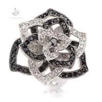 Romantic Fashion Black Cubic Zirconia and White Cubic Zircon...