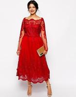Klas Kırmızı A-Line Dantel Aplike Artı Boyutu Elbiseler Meydanı Boyun Uzun Kollu Çay-Uzunluk Parti Balo Elbise Akşam Özel Günler için elbisesi