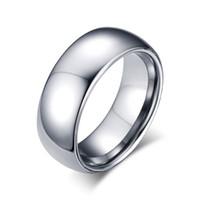 Anillo simple de plata de la venda de boda del oro de tungsteno de 8m m anillos libres de la promesa