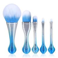 Gujhui 5pcs Métal Doux Maquillage Pinceaux Ensemble Fondation Poudre De Fard À Paupières Lollipop Gradient Bleu Mélange Maquillage Cosmétiques Pinceaux