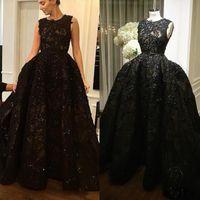 Zuhair Мурад черный вечернее платье без рукавов полный аппликация бисер Пром платье со съемным поезд развертки поезд блестки платья формальные партии