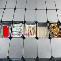 200pcs Tin Container Aufbewahrungsbox Metall Rechteck für Perlen Visitenkarte Süßigkeiten Kräuter Fall 9,4 cm x 5,9 cm x 2,1 cm Splitter
