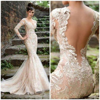 Encantador Rami Salamoun vestidos de noche de manga larga vaina apliques de cintura natural vestido nupcial corte tren evento boda playa vestido de fiesta