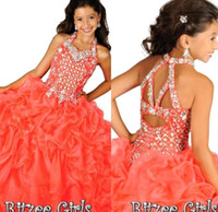 2019 Ritzee 걸스 산호 스파게티 페르시 크리스탈 볼 가운 레이스 업 뒤로 치장한 Organza Girl 's 미인 대회 드레스 Girl 's Prom 가운 할로윈