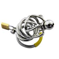 Commercio all'ingrosso - Dispositivo di castità maschio di acciaio inossidabile di dimensione media Bondage Sounding Cage Gay Fetish Metal Cateter A008