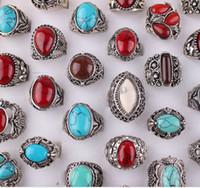 Man ädelsten turkos ring vintage unisex sliver pläterade svarta blå röda färger blandade stilar gratis frakt