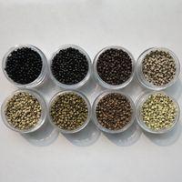1000 pcs / bouteille 4.0mmx2.7mmx2.5mm Micro cuivre nano anneau lien perles Extensions de cheveux outils 7 couleurs