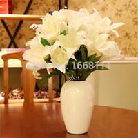 Lily Artificial Bunch (9 cabeças / peça) 45 centímetros Lily flor falsificada lírios Flores para a noiva Wedding Bouquets Partido Decoração