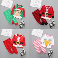 Natal Roupas de Bebê Crianças Xmas Elk Conjuntos de Pijama Listrado Papai Noel Ternos de Algodão Tops Calças Roupas Dos Desenhos Animados Roupas de Manga Longa