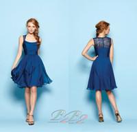Neue einfache billige königsblau scoop sleeveless reich a-Linie knielangen chiffon brautjungfernkleider abendkleider abendkleid nach maß