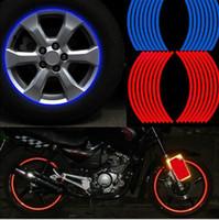 "16 PCSストリップホイールステッカーとデカール14 ""17"" 18 ""反射リムテープバイクオートバイ車のテープ5色の車のスタイリング"