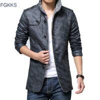 Wholesale-FGKKS Kış Deri Ceket Erkek Mont Marka Yüksek Kalite PU Giyim Faux Kürk Erkek Ceket Bırak Shiping