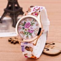 Moda Zegarki Dla Kobiet Genewa Luksusowa Kwiat Przypadkowy Sukienka Damska Wristwatch Blossom Dial Stop Mens Watch